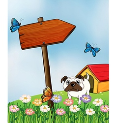A bulldog and the three colorful butterflies vector