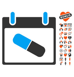 Drugs pill calendar day icon with valentine bonus vector