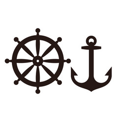 Rudder and anchor sign vector