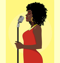 Cartoon attractive female singer concept vector