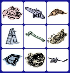 Household tool icons vector