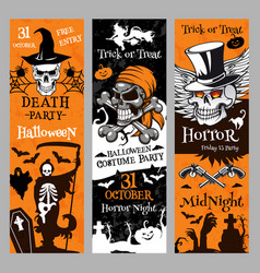 Halloween banners for holiday horror night vector