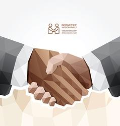 Geometric modern handshake design vector