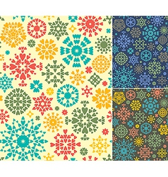 Abstract seamless patterns set of three colors vector