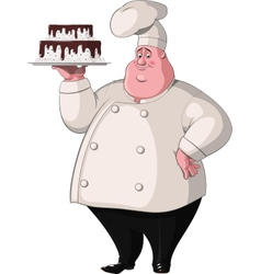 Chef holds a tray with cake vector