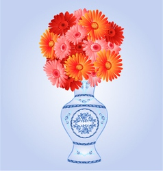 Gerbera in faience vase festive blue background vector
