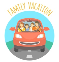 Family vacation trip by car vector
