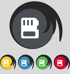 Compact memory card icon sign symbol on five vector