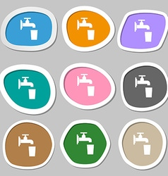 Faucet glass water icon symbols multicolored paper vector
