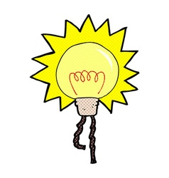Comic cartoon light bulb vector