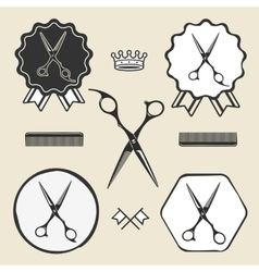 Vintage barber shop scissors symbol emblem label vector