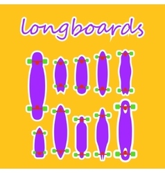 Longboard shapes and types on a colored background vector