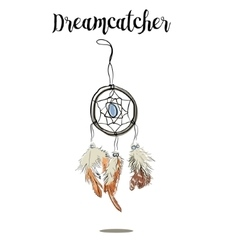Hand-drawn with ink dreamcatcher with feathers vector