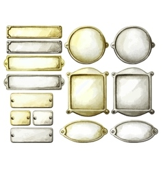 Watercolor metal plates vector