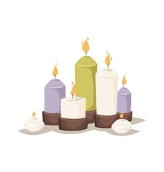 Cartoon burning candles with candle holder and vector