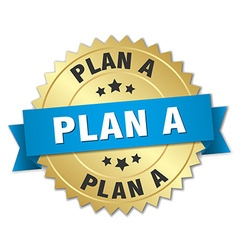 Plan a 3d gold badge with blue ribbon vector