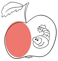 Apple worm vector image