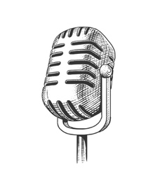 Vintage microphone hand drawn engraving vector