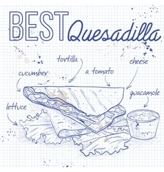 Quesadilla recipe on a notebook page vector