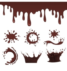 Chocolate splash set vector
