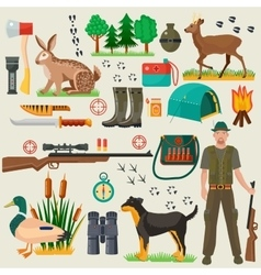 Hunter tourist man male tools and equipment stuff vector