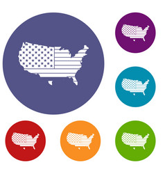 American map icons set vector