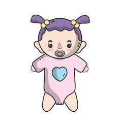 baby girl with pacifier and hairstyle vector image vector image