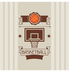 Background with basketball ball hoop and labels vector