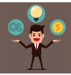 Businessman with gear idea and money vector image vector image