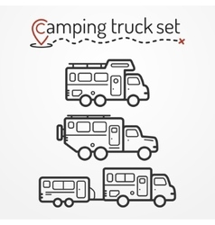 Camping truck set vector image vector image