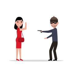 Cartoon robber with a gun robbing a woman vector