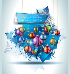 Christmas Modern Background with balls and star vector image vector image