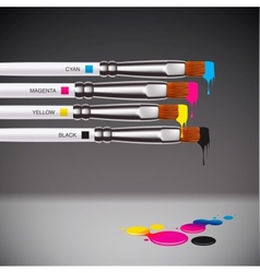 Cmyk brushes on grey background vector