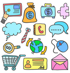 Collection of object business colorful doodles vector