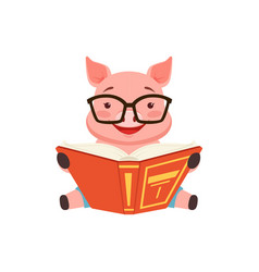cute smart pig sitting on the floor anf reading vector image vector image