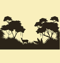 Deer on the jungle scenery of silhouette vector