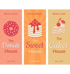 Flat card with sweet pastries vector image