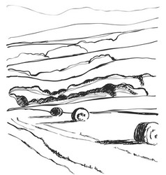 Hand made sketching landscape fields vector