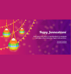 Happy janmashtami banner horizontal cartoon style vector