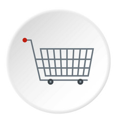 Large metal shopping trolley icon circle vector