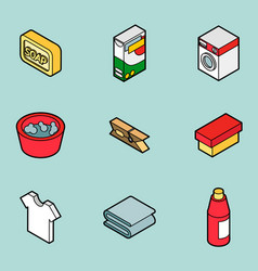 laundry flat outline isometric icons vector image