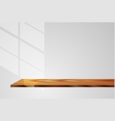 Light and shadow wood shelf gray background vector
