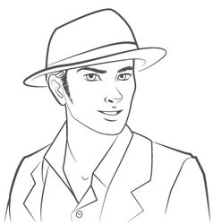 Man Wearing Hat vector image