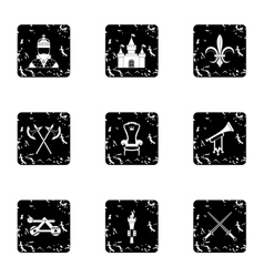 Medieval armor icons set grunge style vector image
