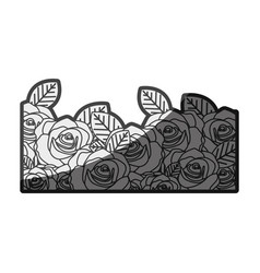 Monochrome silhouette decorative half border with vector