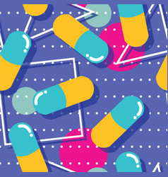 Pills and capsules seamless pattern pop modern vector