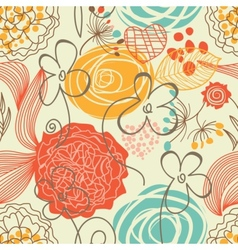 Retro floral seamless pattern vector