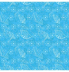 Seamless background outline seashells vector image