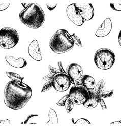 Seamless pattern with apples sketch vector image vector image