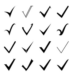 set of icons of a tick mark on a white background vector image